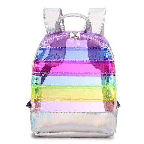 Rainbow Striped Travel Clear Backpack