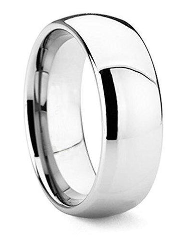 Men's Classic Fine Polished Domed Tungsten Wedding Band