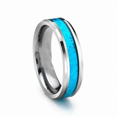 Turquoise Carbon Fiber Silver Tungsten Wedding Band