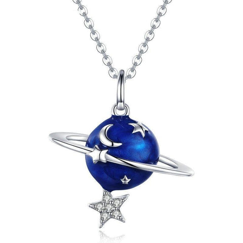 Blue Planet Star Crescent Moon Sterling Silver Necklace