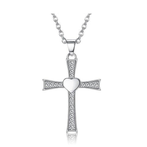 Clear Crystal Pave Sterling Silver Cross Heart Necklace