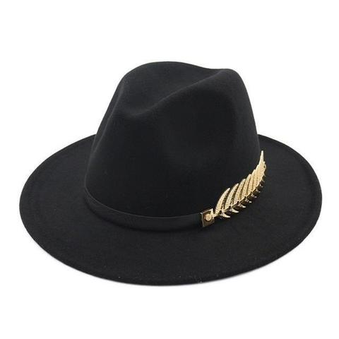 Gold Fern Hatband Pinched Wool Fedora (10 Available Colors)