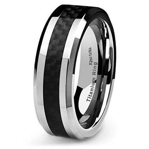 Men Black Carbon Fiber Titanium Ring Wedding
