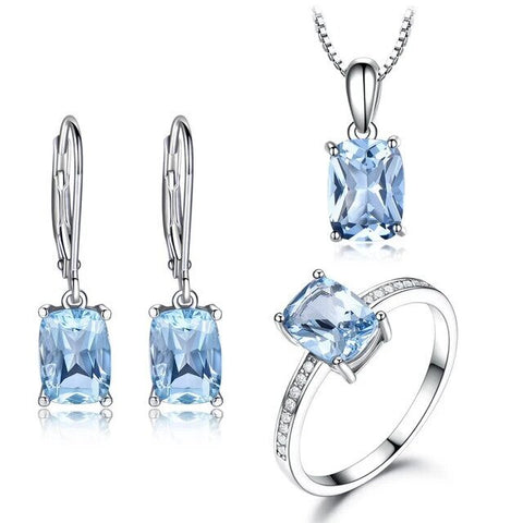 3PC Light Blue Cubic Zirconia Sterling Silver Jewelry Collection