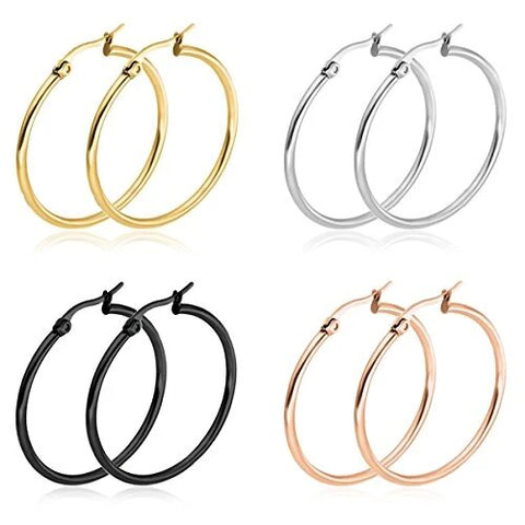 4 Pairs Stainless Steel Hoop Earrings Set for Women
