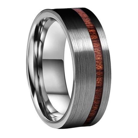Brushed Silver Top Wood Inlay Tungsten Wedding Ring