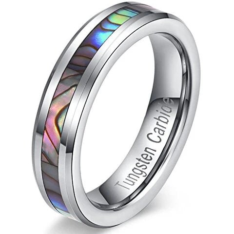 Tungsten Carbide with Vintage Abalone Shell Inlay Wedding Band