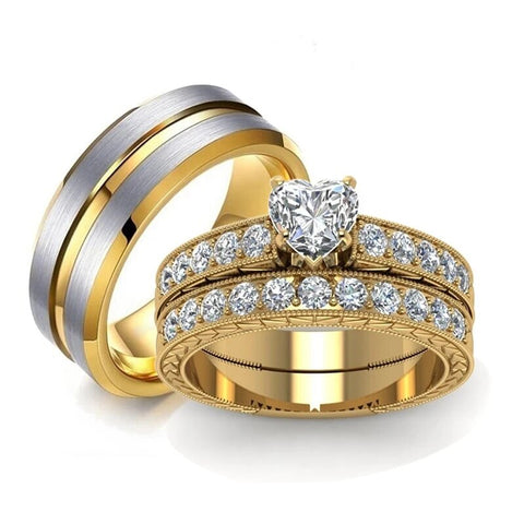 Heart Zirconia Side Stone Gold Stainless Ring Set