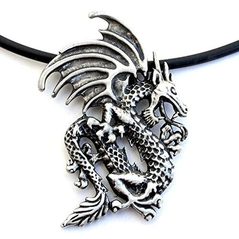 Medieval Norse Winged Dragon Pendant Black Cord Necklace