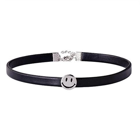 Black Leather Teen Smiley Choker Necklace