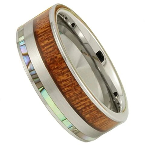 Silver Tungsten with Abalone and Shell Koa Wood Flat Top Ring
