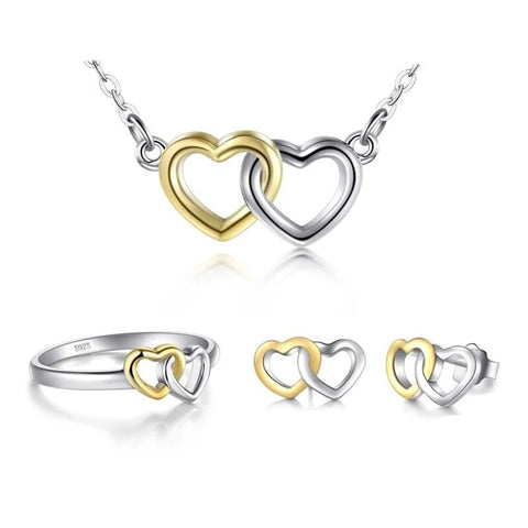 Gold & Silver Linked Hearts Sterling Silver Jewelry Set