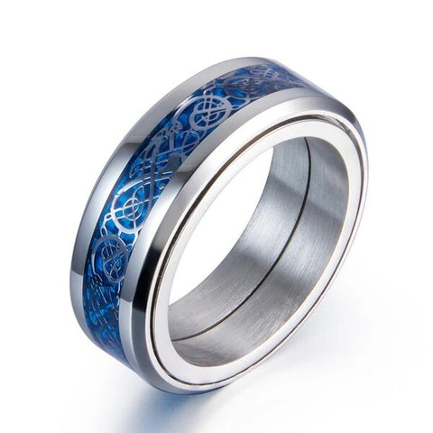 Glow in The Dark Blue Dragon Tungsten Spinner Wedding Band