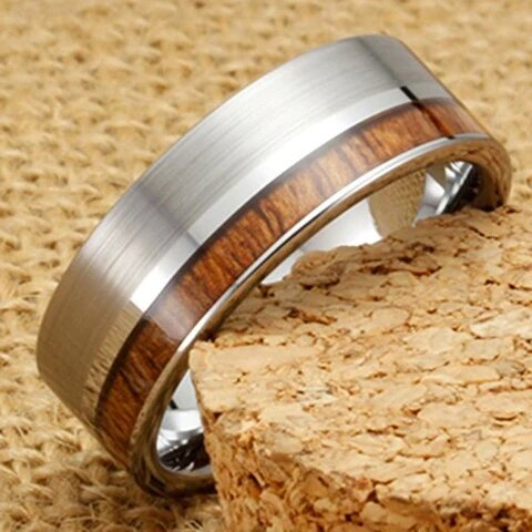 Silver Tungsten with Koa Wood Flat Top Couple Ring
