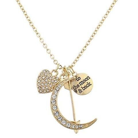 Gold-tone Pave Heart Crescent Moon Charm Necklace