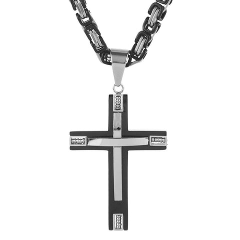 Black & Silver Hip Cross Stainless Steel Byzantine Necklace