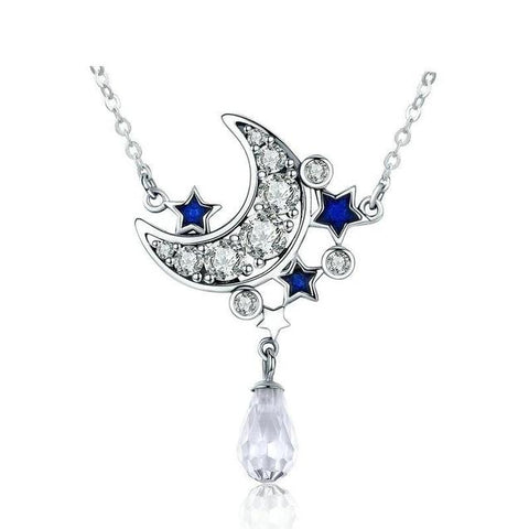 Crescent Moon Star Crystal Drop Sterling Silver Necklace