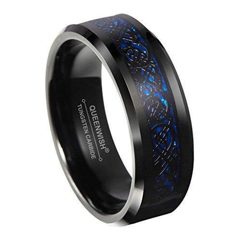 Blue Black Celtic Dragon Knot Tungsten Band