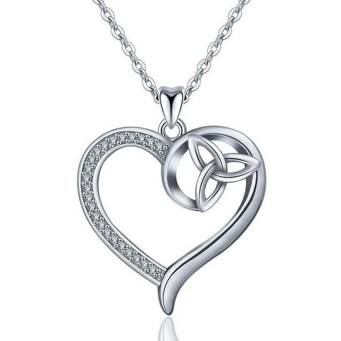 Trinity Knot  Crystal Pave Sterling Silver Heart Necklace