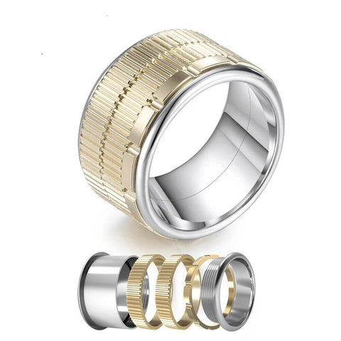 Gold Tone Stainless Stackable Spinner Fashion Ring