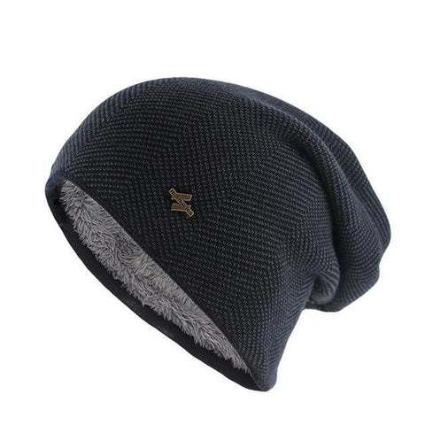 Fur Lined Herringbone Wool Knitted Cap (5 Available Color)