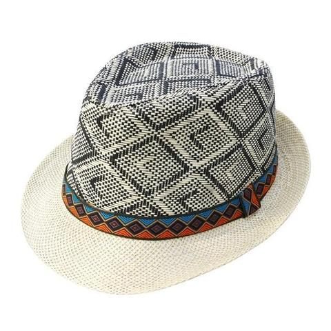Dual Pattern Turkish Fabric Straw Hat (4 Available Colors)