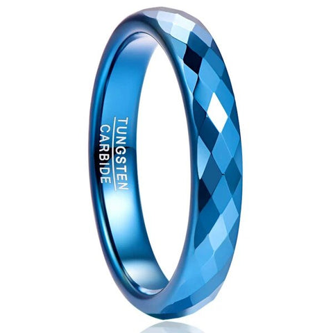 Blue Diamond Faceted Domed Carbide Wedding Band