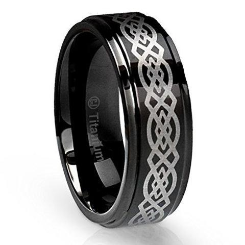 Men Black Celtic Knot Titanium Ring Wedding Band