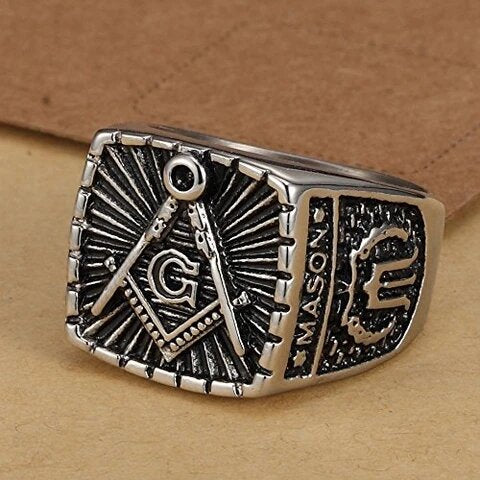 Stainless Steel with Retro Burnished Masonic Design Ring