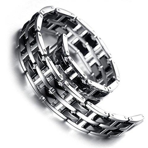 Thick Black Crystal Silver Tungsten Bracelet