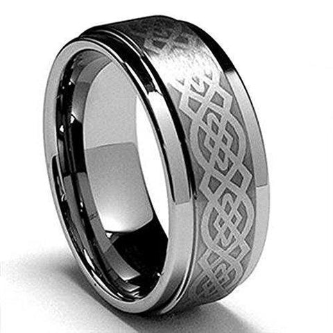 Men Celtic Knot Tungsten Carbide Ring Wedding Band