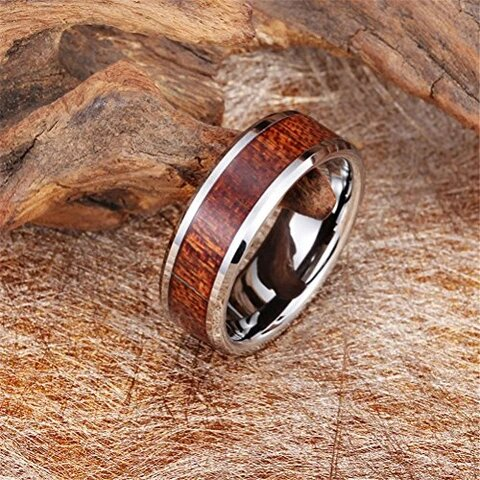 Tungsten Carbide with Vintage Wood Inlay Wedding Band