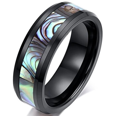 Black Ceramic with Natural Shell Inlay Comfort Fit Ring
