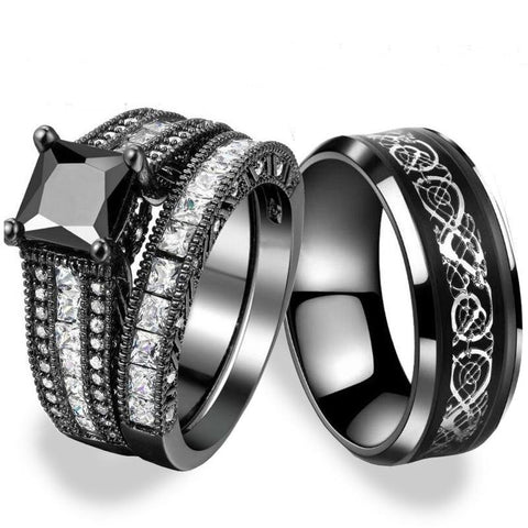 3PC Silver & Black Dragon Solitaire Stainless Rings Set