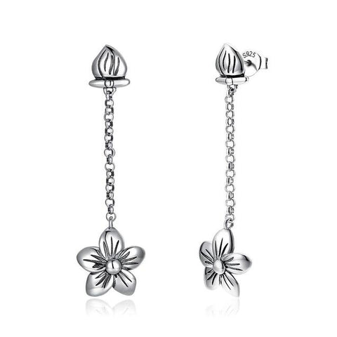 Sterling Silver Floral Drop Stud Earrings
