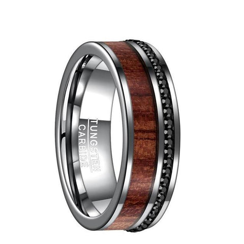 Black Crystal Pave Wood Inlay Silver Tungsten Ring