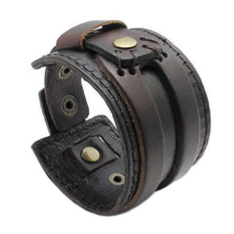 Double Layer Brown Leather Bracelet With Adjustable Strap