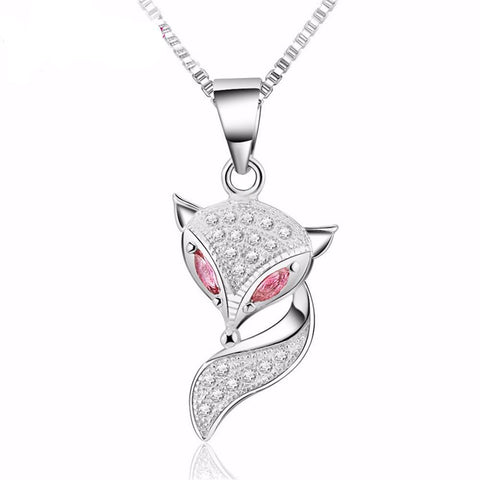 Cute Fox Sterling Silver Zirconia Pendant Necklace