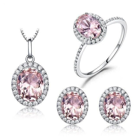3PC Pink Blue CZ Halo Setting Sterling Silver Collection