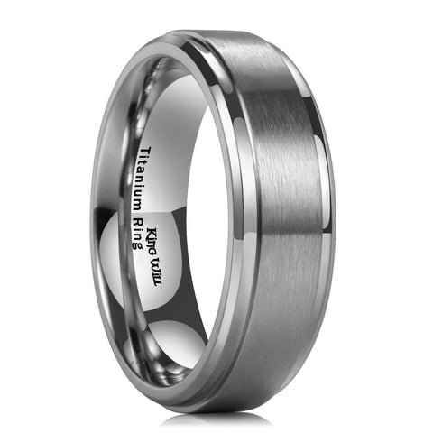 Men's Anodized Brushed Matte Titanium Wedding Band