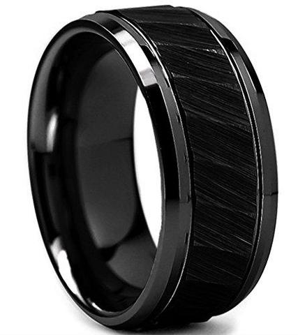 Tungsten Carbide Bladed Brushed Gay Lesbian Black Wedding Band