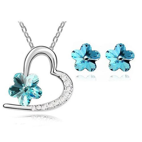 Colored Flower Zirconia Heart Stainless Steel Jewelry Set