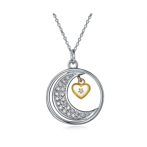 Crystal Pave Crescent Moon Gold Heart Sterling Silver Necklace