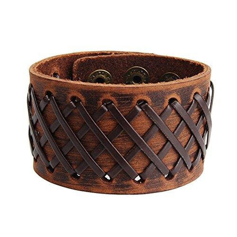 Adjustable Men Wide Braided Wristband Leather