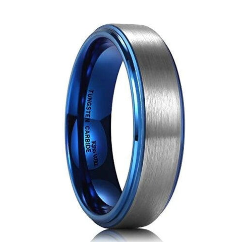 Blue Tungsten Carbide Wedding Band with Brushed Center Polish