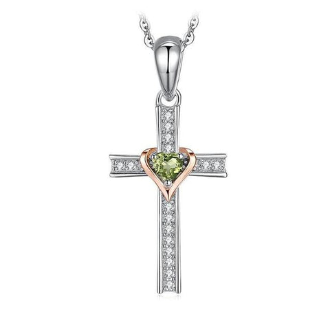 Two-Tone Crystal Pave Sterling Silver Cross Green Heart Ring Necklace