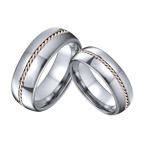 Rose Gold Rope Inlay Silver Tungsten Carbide Ring Set