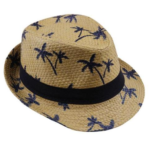 Palm Tree Patterned Fedora Straw Hat (4 Available Colors)