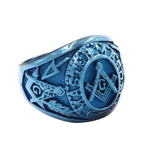 Men's Blue Plated Stainless Steel Masonic Vintage 3D Ring