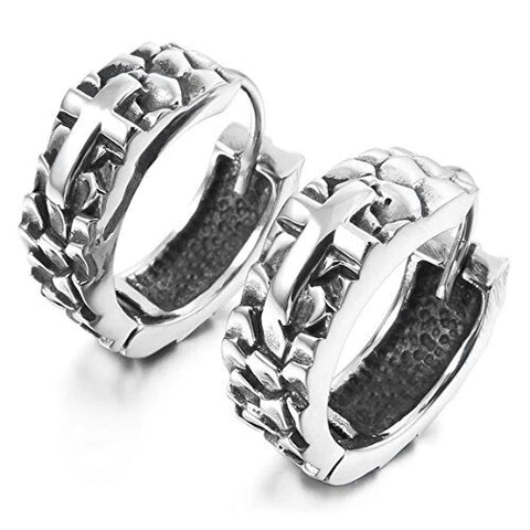 Men's Stainless Steel Cross Stud Hoop Earrings